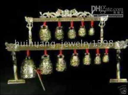 Wholesale Lucky chinese Feng Shui Dragon Brass chime Bells Set
