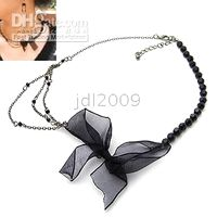 Wholesale Ribbon Lace Black Pearl Alloy Short section Necklace alloy necklace fashion necklace
