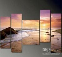 Wholesale Hot Sell Handicraft Modern Abstract Art Canvas Oil Painting quot Gold Beach quot