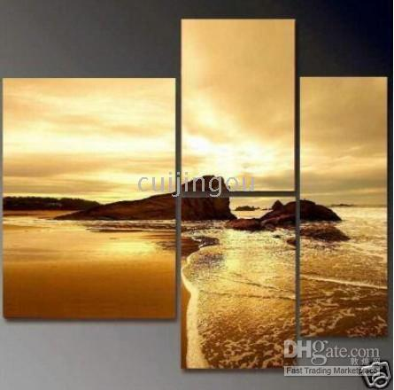 More Panel Oil Painting Abstract Handicraft Modern Abstract Art Canvas Oil Painting: Golden Beach #166