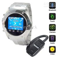 Wholesale full of stee triband watch phone W968 MP3 MP4 bluetooth FM Radio Camera watch cell phone GB
