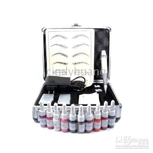 Wholesale Quality Permanent Makeup Silver Machine Ink Case Power Needles Kit for Tattoo PM