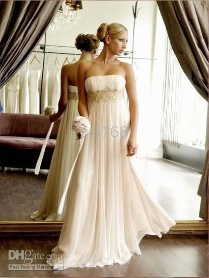 New Ivory Chiffon Empire Waist Beach Wedding Dresses