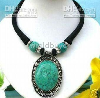 Women's asian jewelry - Noblest Asian jewelry tibet turquoise pendant necklace