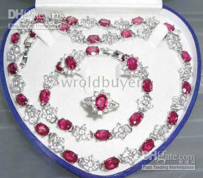 Wholesale Charm set ruby zirconia rhinestone necklace bracelet earring ring jewelry
