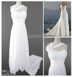 Wholesale No Risk Shopping Sheath Court Train Chiffon Pleats Beach Wedding Dresses Wedding Gown Style Bill007