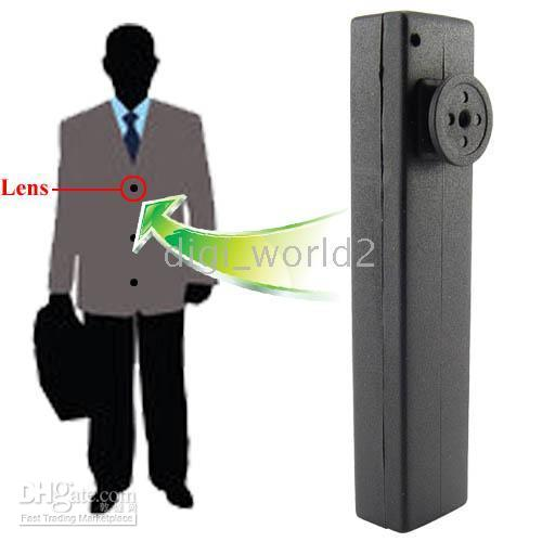 8G Black  Free Shipping 8GB Button Spy Camera with Audio & Video Telescope Zoom Lens Pinhole DVR USB Drive