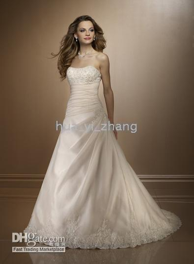 Long Sleeve 2010 wedding dresses - 2010 A Line Strapless Beaded Chapel Train Organza Real Wedding Dresses WD005