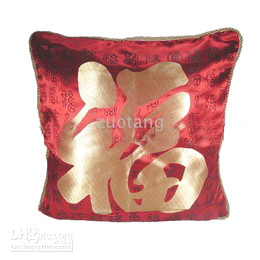 Cheap Ethnic Red Pillow Cushion Covers 18 x 18 inch Chinese style Satin Fabric Fu Word Pattern Pillowcases 6pcs pack