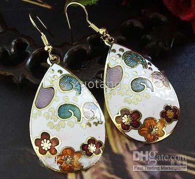 Wholesale Personality Earring Drop Earrings Hot Sell Earring Cloisonne Ladies Fashion Earring pair mix Free