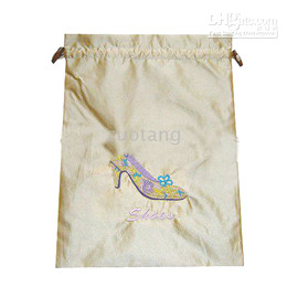 High Quality Bunk Silk Fabric Embroidered Travel Shoe Bags Storage Drawstring Reusable Shoe Covers Wholesale 10pcs pack mix color Free