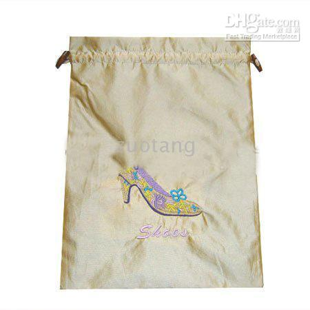 Wholesale High Quality Bunk Silk Fabric Embroidered Travel Shoe Bags Storage Drawstring Reusable Shoe Covers pack mix color Free