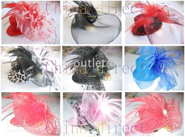 hat hair clips Bows Feather Fascinator Veil Bow Feather Barrette 40pcs lot