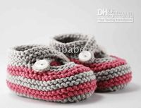 Handknit crochet baby first walker shoes stripe infant booti...
