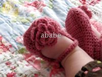 Baby crochet girl rose shoes handmade flower booties cotton ...