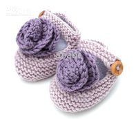 Handknit baby cute shoes big flower crochet boots cotton yar...