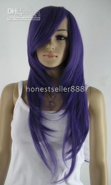 Wholesale Stylish new lady s long lavender vogue wig accessories w9386