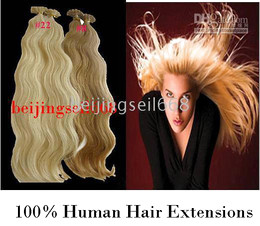 Wholesale 18 quot REMY HUMAN HAIR EXTENSIONS BLACK BODY WAVE FLAT SO CAP KERATIN FUSION