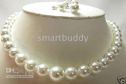 """18""""10-11MM SOUTH SEA WHITE PEARL NECKLACE EARRING 925 SILVER"""