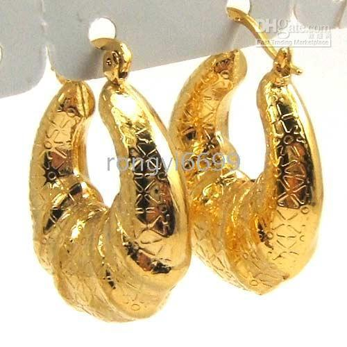 Wholesale 2010 CARVEN K YELLOW gold SOLID GP HOOP earring