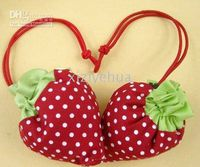 Wholesale Strawberry bags Cute Foldable Shopping tote folding fruit shopping bag