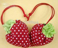 Wholesale Strawberry bags Cute Foldable Shopping tote folding fruit shopping bag