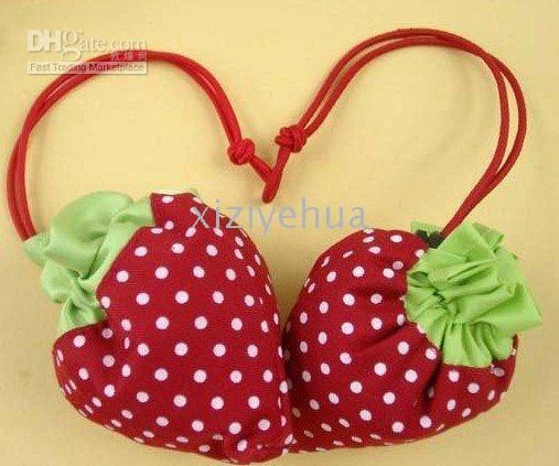 Blue strawberry folding shopping bag - Strawberry bags Cute Foldable Shopping tote folding fruit shopping bag