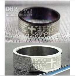 Titanium Steel Rings Bible Cross Pattern Black White Ring Never Fade Color No Allergy New 25pcs lot