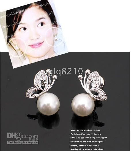 Wholesale Pearl Earring With Butterfly Pattern Fashion Earrings Women s Brand New arrival xmas gifts Discount