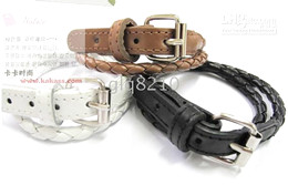 Belt Style Leather Buckle Bracelet Fashion Bracelets Winding Weave Women's Jewelry New 20pcs lot