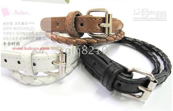 Wholesale Belt Style Leather Buckle Bracelet Fashion Bracelets Winding Weave Women s Jewelry New
