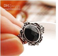 Wholesale Black Crystal Stone Rings Vintage Carved Magic Mirror Rose Ring New Arrival