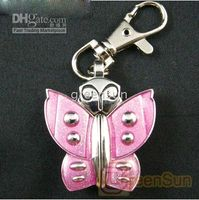 Wholesale Cute Butterfly Pocket Keychain Watch PINK