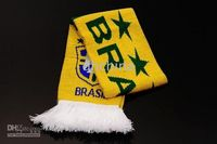 Wholesale 2010 Football Scarf Fan Scarf Brazil National Team Woven Scarves Mix Order