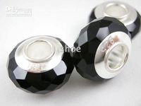 500pcs simple core cristal perles de verre à facettes marqué plaqué argent 925 coeur Mix 10 couleurs AL09