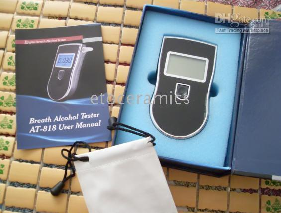 Wholesale 100pcs NEW Hot selling Professional Police Digital Breath Alcohol Tester Breathalyzer AT818