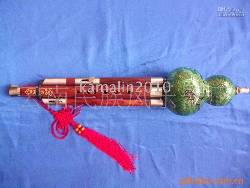 Wholesale tone detachable professional mahogany gourd silk Hulusi Chinese Yunnan Ethnic Music