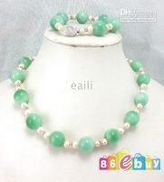 Wholesale 20 quot green jade amp pink pearl necklace bracelet