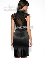 Wholesale Lace neckline backless Cocktail Dresses Size UK8 Color beige black