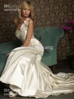 Wholesale 2010 ALLURE Mermaid One Shoulder with Handmade Flowers Embelished Pleated Taffeta Wedding Dresses