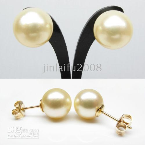 Wholesale HOT pair MM YELLOW SOUTH SEA PEARL EARRING STUD