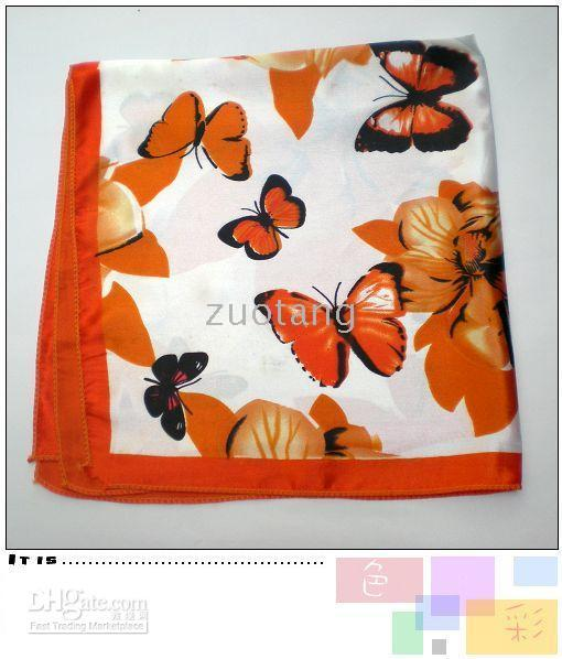 butterfly scarf silk - Butterfly Square Imitate Silk Scarves New Fashion Imitate Silk Scarf Square Small Scarf
