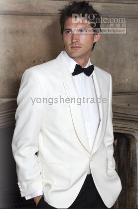 Wholesale Custom Made Men Suit Tuxedo Ivory Jacket Black Pants One Button Suit