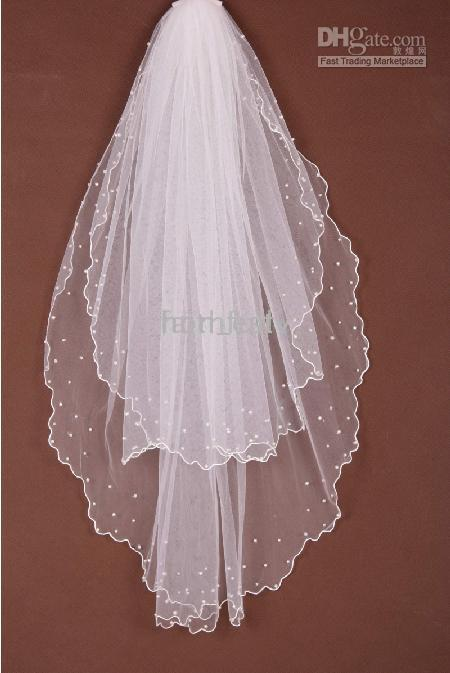 Wholesale lowset price Veils Hair Accessories two layers pearls on it