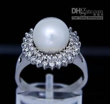 Women's beautiful pearl rings - NATURAL BEAUTIFUL WHITE mm mm PEARLS RING SIZE TO
