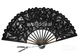 Wholesale Vintage palace Style Handmade black Battenburg lace embroidery wedding hand Fan woman accessories high quality H123