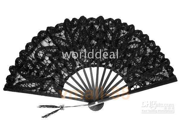 Hand Fans lace hand fan - Vintage palace Style Handmade black Battenburg lace embroidery wedding hand Fan woman accessories high quality H123