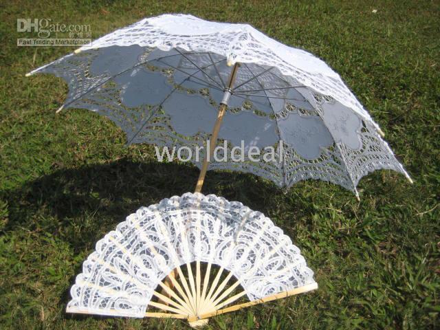 Wholesale white Parasol Umbrella for wedding Bridal batten lace Fan