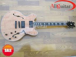 Custom Made Semi hollow 335 Guitar Ebony Fretboard Flamed Maple Top Tiger Natural JAZZ Electric guitars Black Hardware