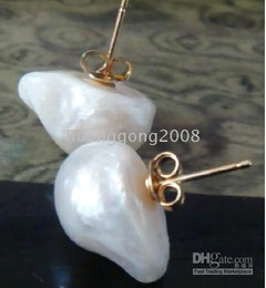 14-15mm south sea baroque white pearl earring 14k
